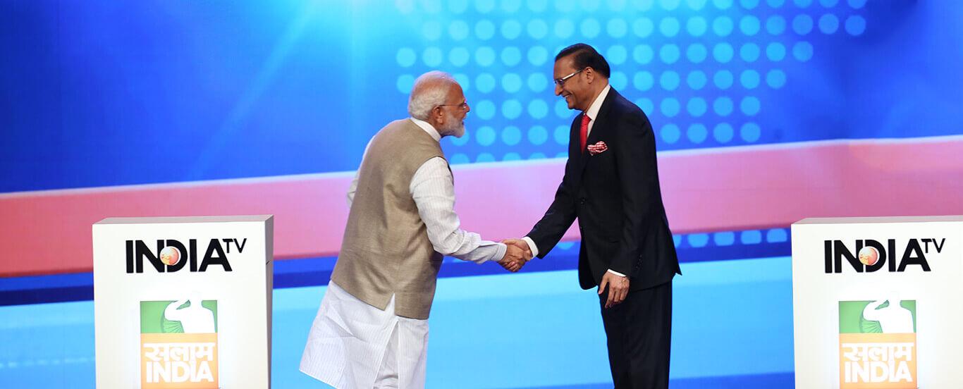 रजत शर्मा के साथ प्रधानमंत्री मोदी